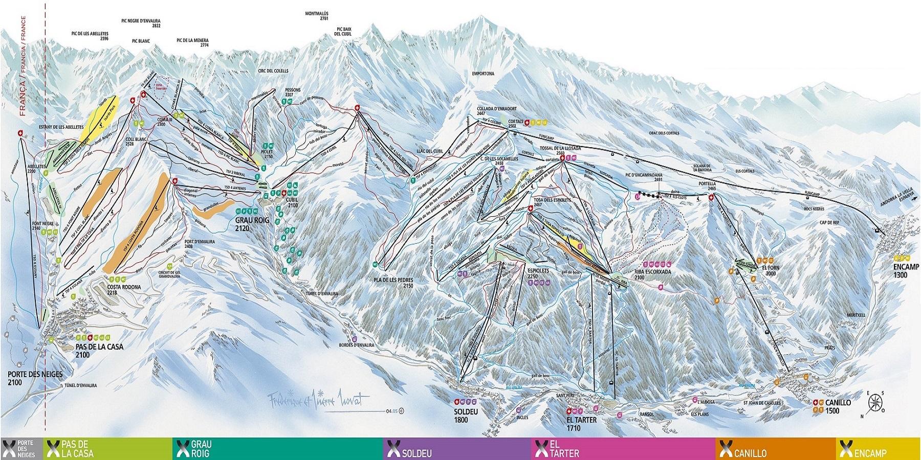 Схема трасс в Андорре (Ski map Andorra)