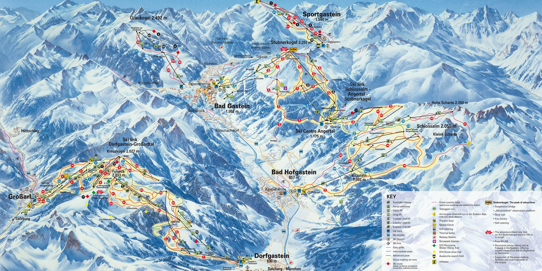 Схема трасс в Бад Гаштайн (Ski map Bad Gastein)