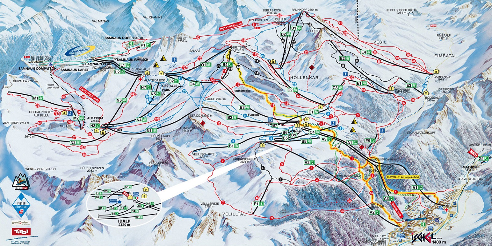 Схема трасс в Ишгль (Ski map Ischgl)