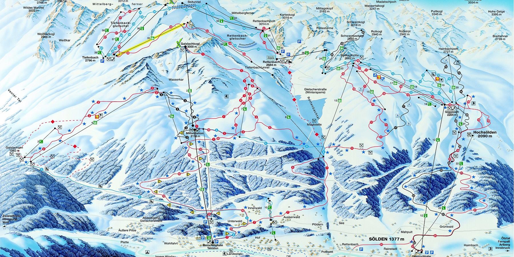 Схема трасс в Зельден (Ski map Solden)