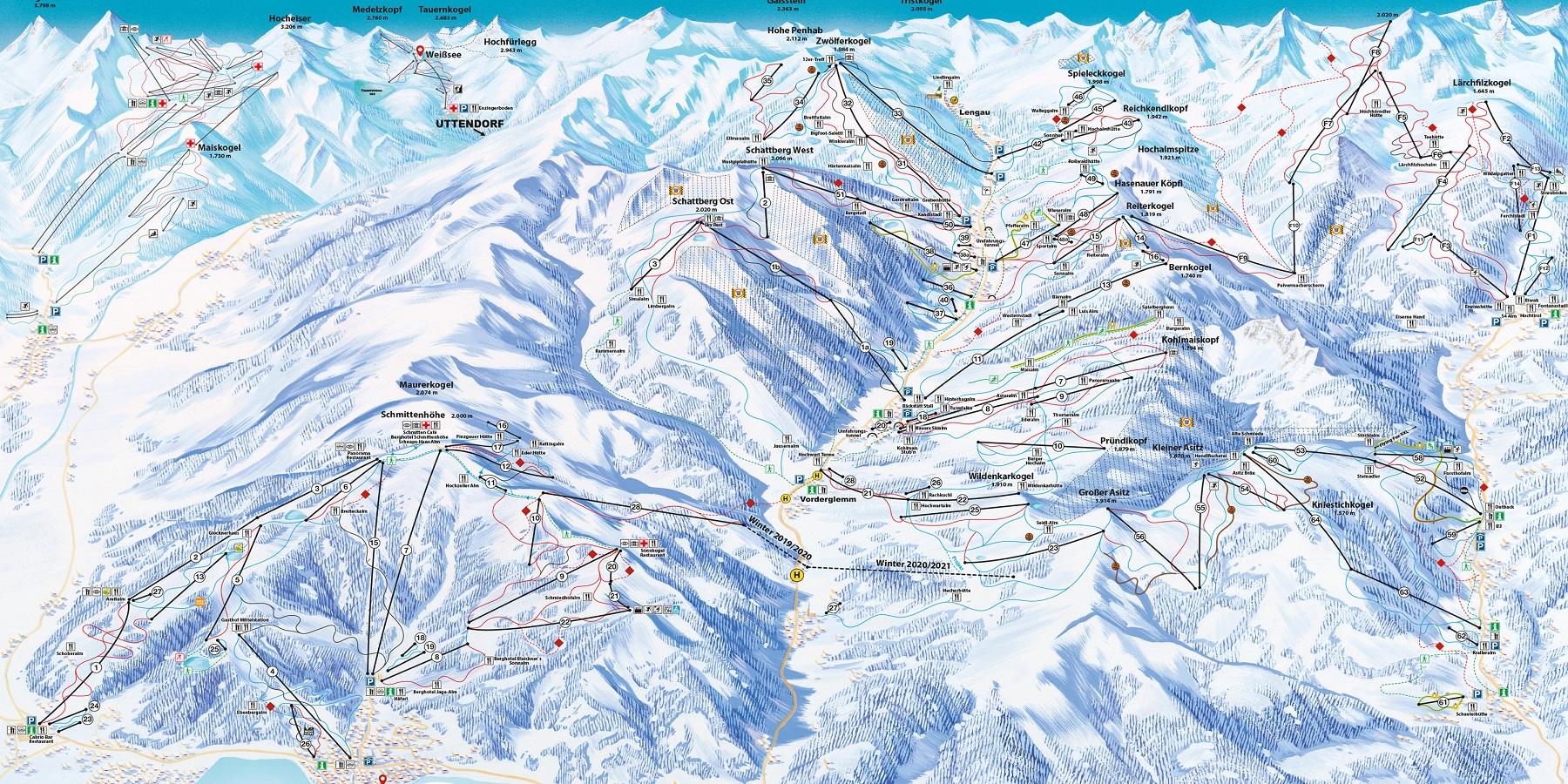 Схема трасс в Цель Ам Зее (Ski map Zell am See)