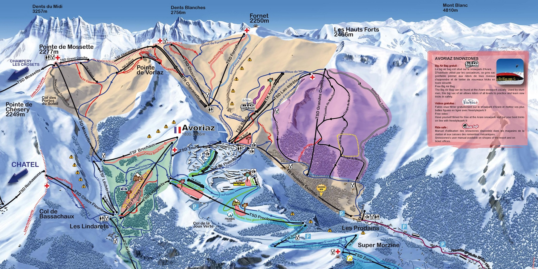 Схема трасс в Авориазе (Ski map Avoriaz)