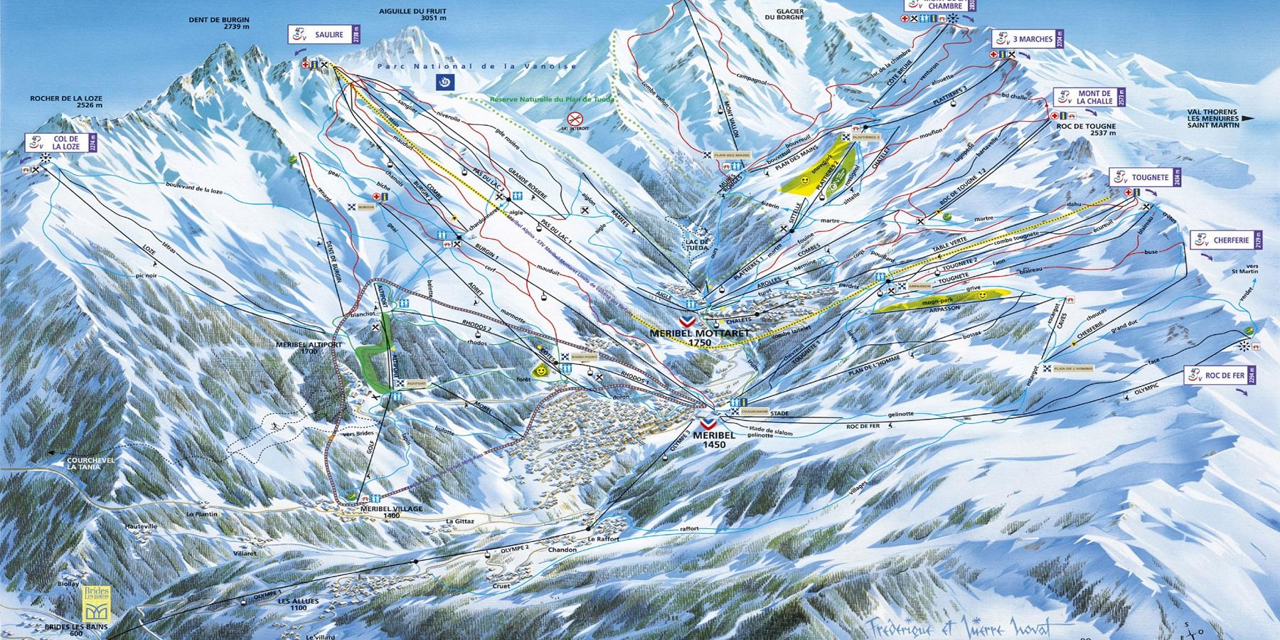 Схема трасс в Брид ле Бен (Ski map Brides les Bains)