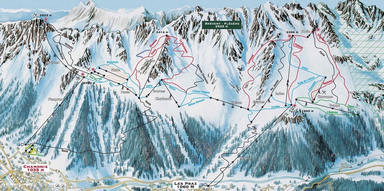 Схема трасс в Шамони (Ski map Chamonix)