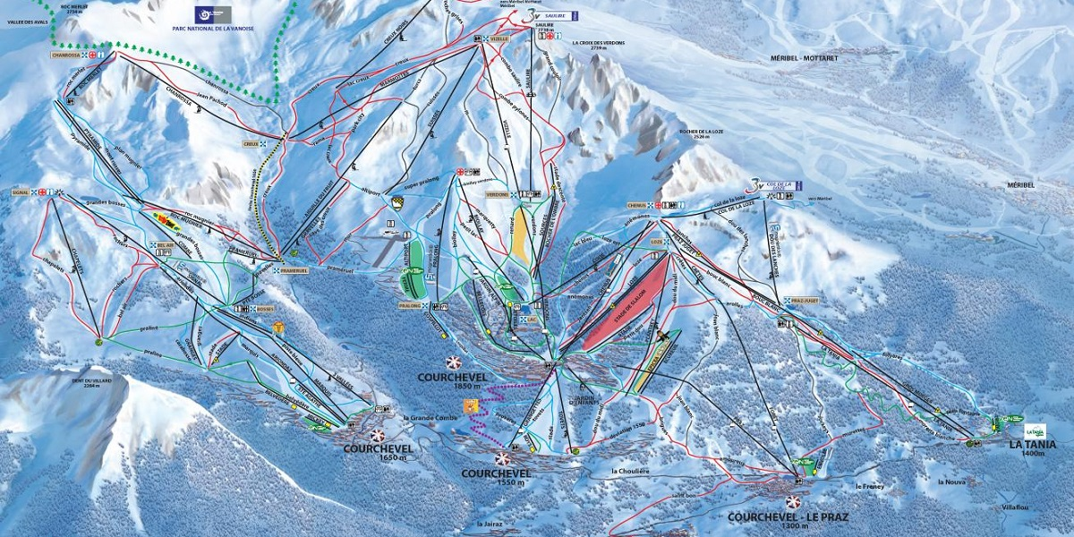 Схема трасс в Куршевеле (Ski map Courchevel)