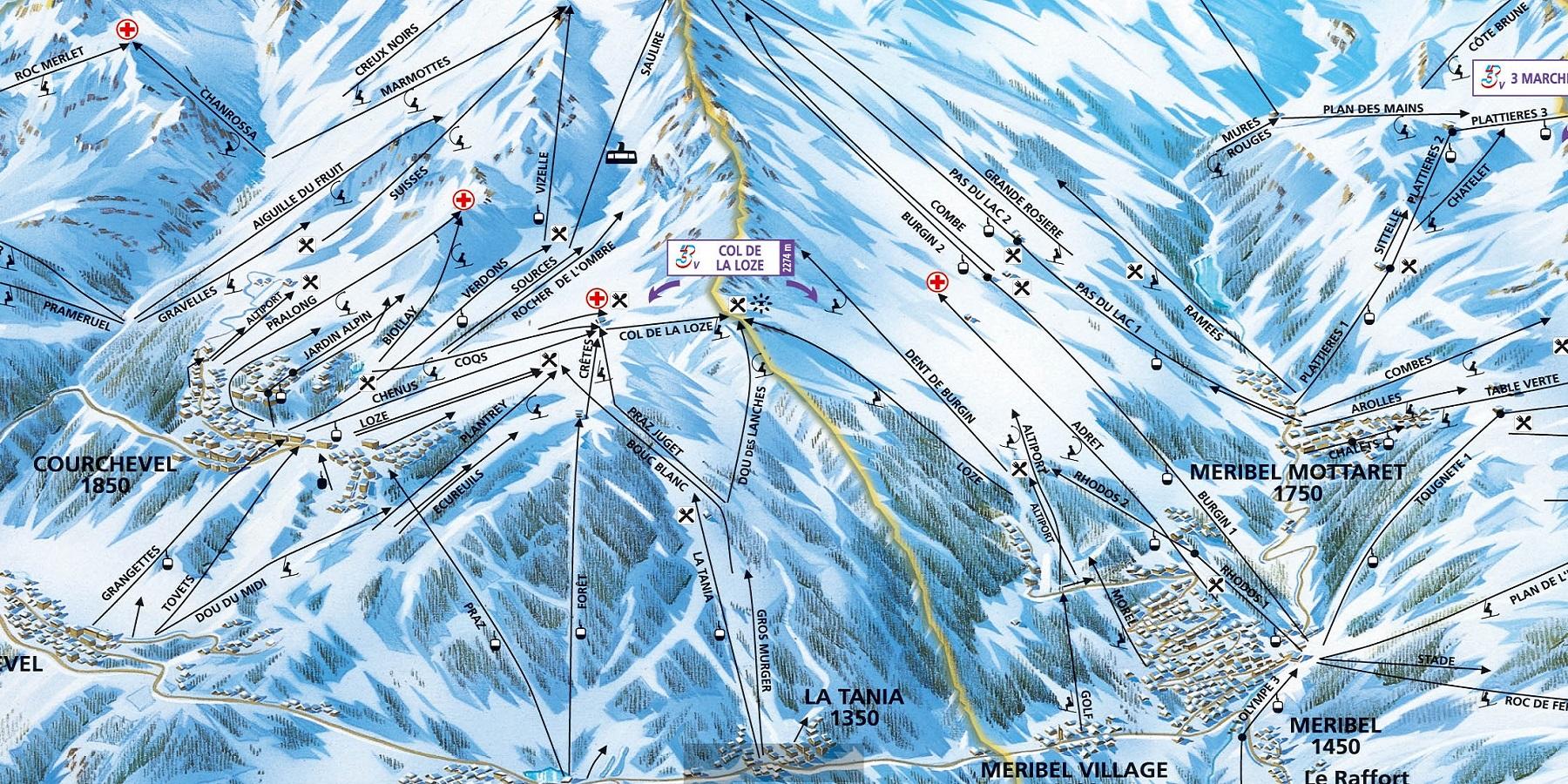 Схема трасс в Ла Танья (Ski map La Tania)