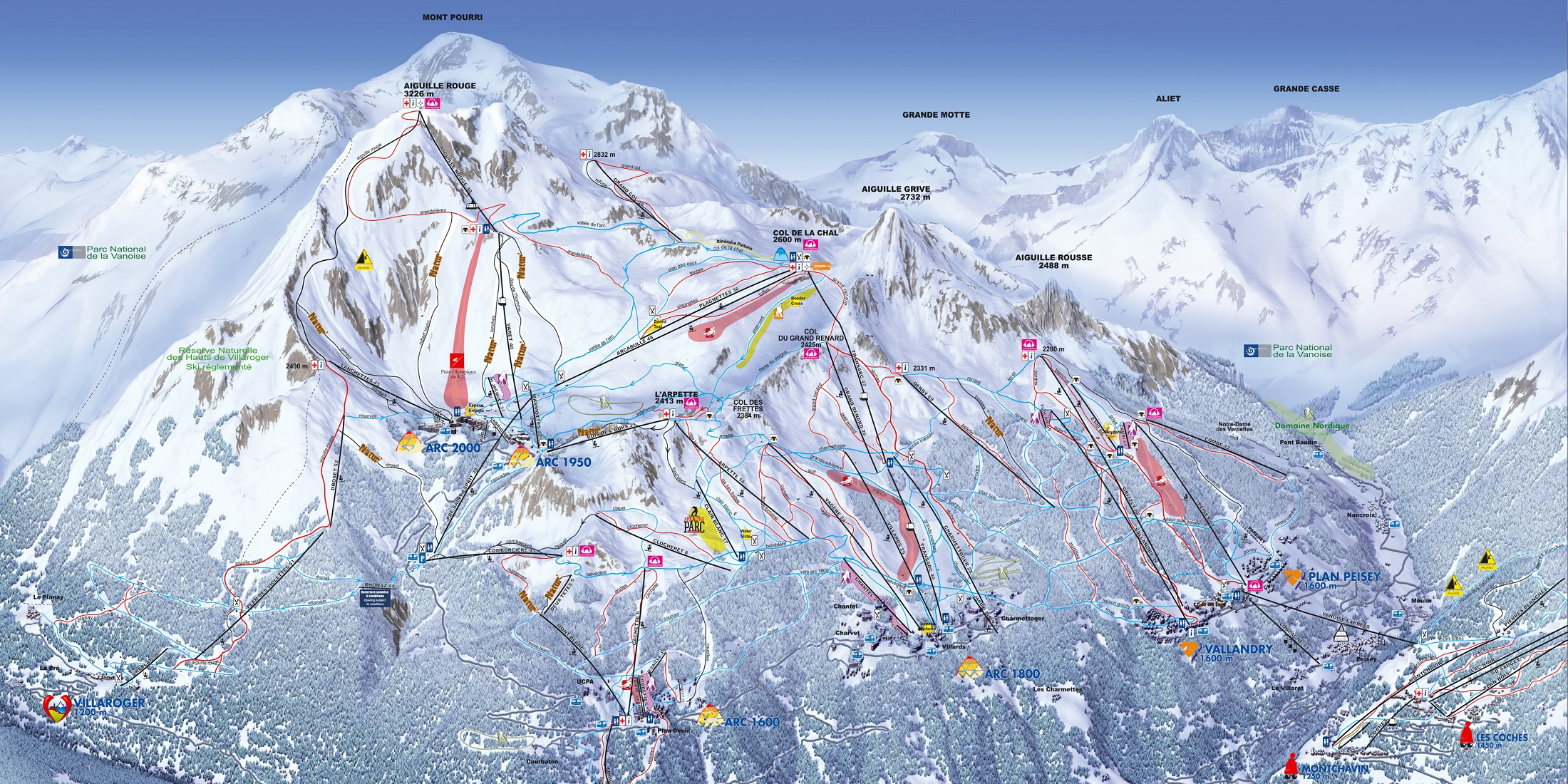 Карта трасс в Лез Арк (Les Arc ski map)