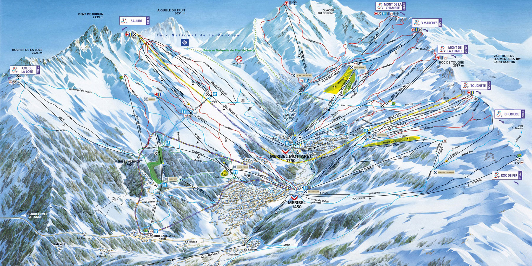 Схема трасс в Мерибеле (Ski map Meribel)