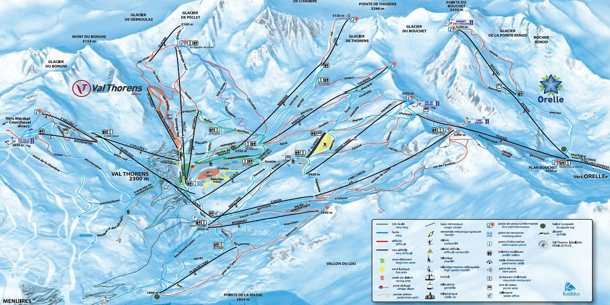 Схема трасс в Валь Торансе (Ski map Val Thorens)
