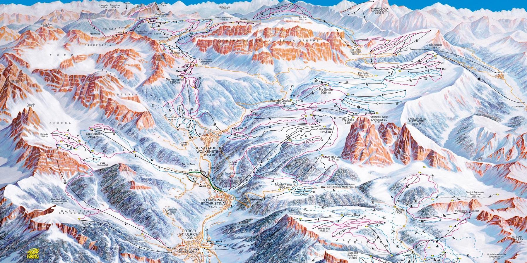 Схема трасс в Валь Гардене (Ski map Val Gardena)